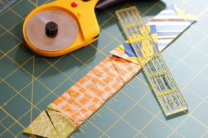 Scrap fabric makes great flags for bunting