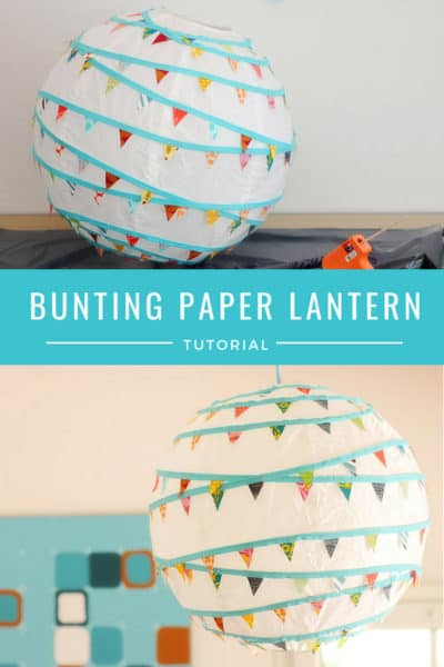 Decorate a rice paper lantern with bunting for an easy DIY decoration.