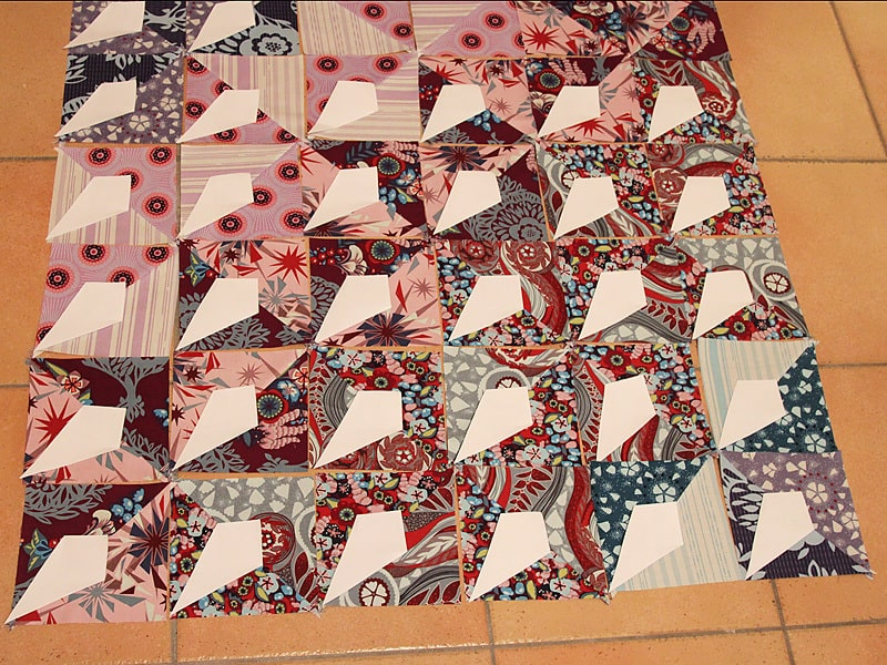Easy Patchwork Baby Quilt with Anna Maria Horner's Innocent Crush - QSTs and HSTs - by Bonjour Quilts