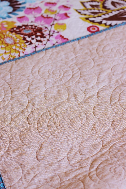 Queen-sized quilt by Kirsty at Bonjour Quilts - backed with Carolyn Friedlander crosshatch