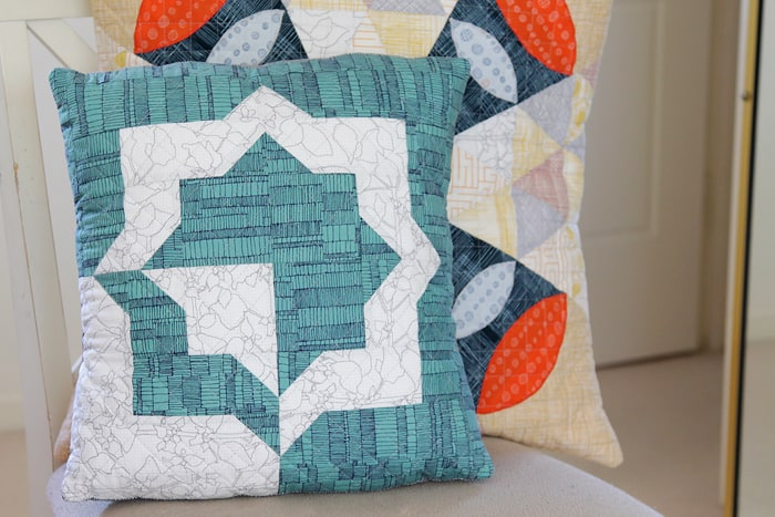 Cushion made by Kirsty of Bonjour Quilts from a LiveLoveSew pattern
