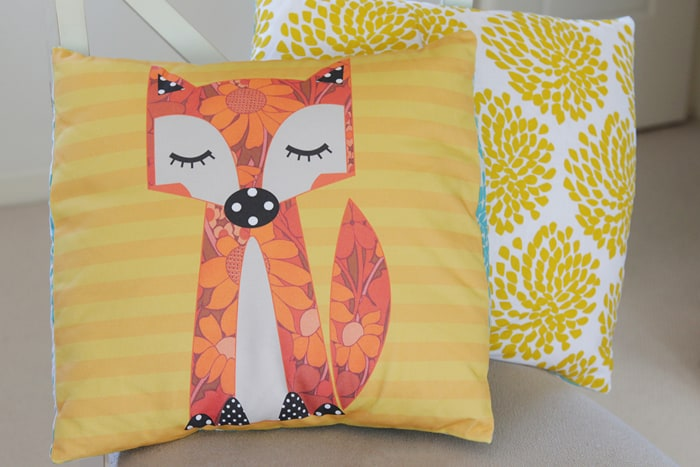 Cushion made by Kirsty of Bonjour Quilts from a Cat&Vee panel