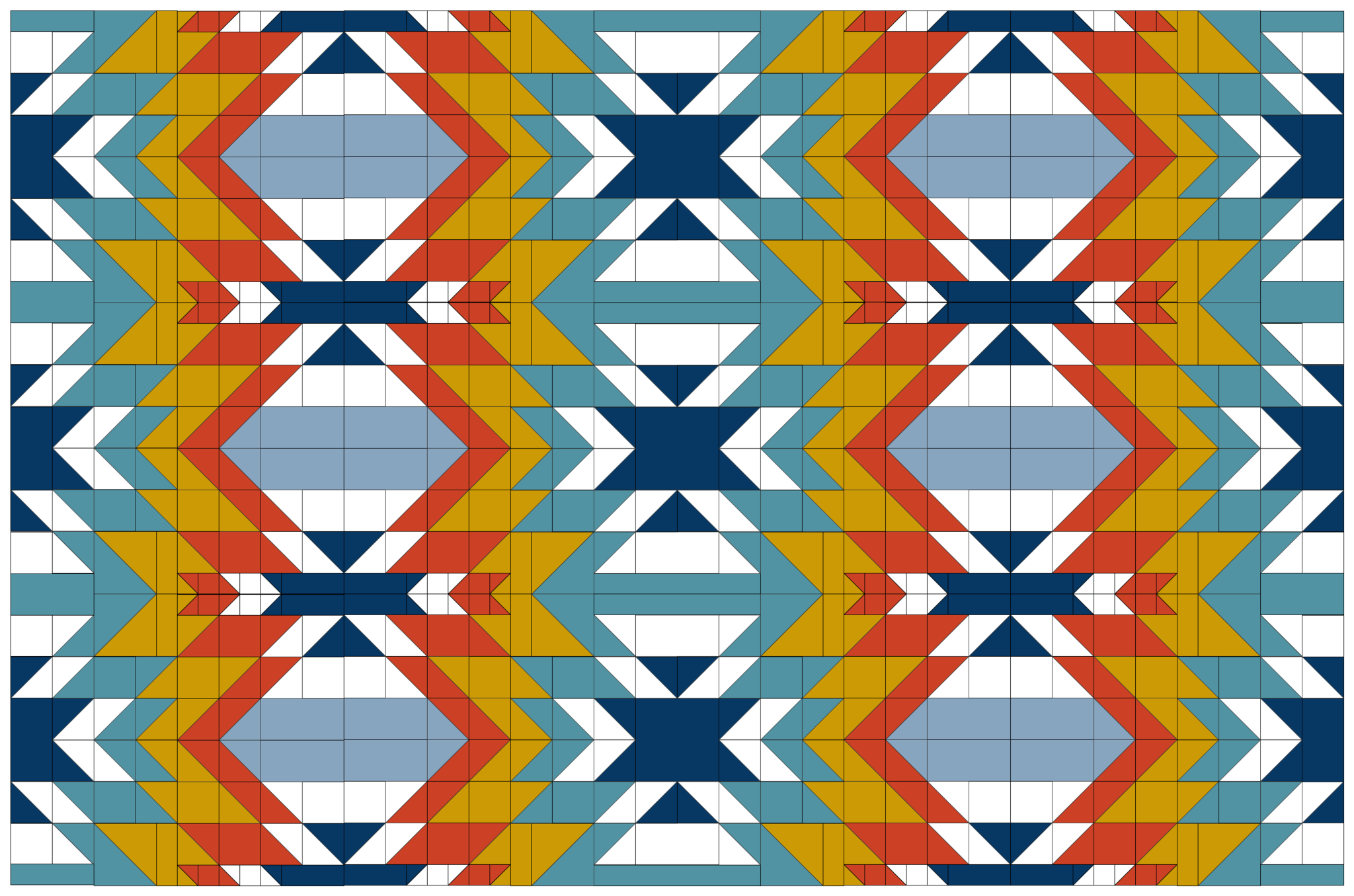 Modified version of Bonjour Quilts' Go West pattern.