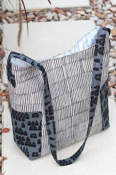 Compass Bag sewn by Kirsty of Bonjour Quilts with Maker Maker fabric