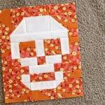 Skull Patchwork block free tutorial on Bonjour Quilts