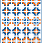 A scrappy cross quilt pattern