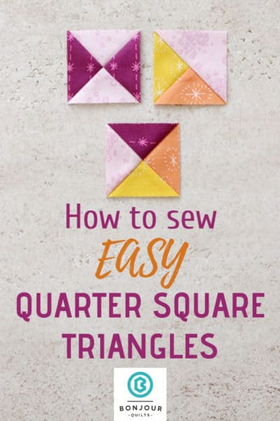 Learn to sew Quarter Square Triangle, Hourglass and Split Quarter Square Triangle blocks