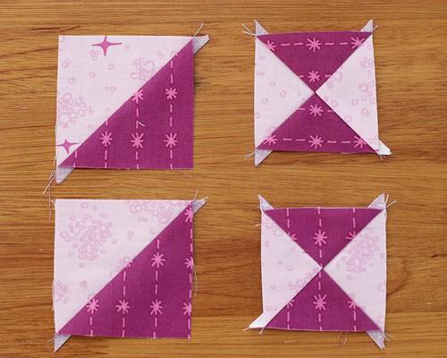 Hourglass quilt blocks (quarter square triangles)