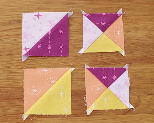 Quarter Square Triangle quilt blocks