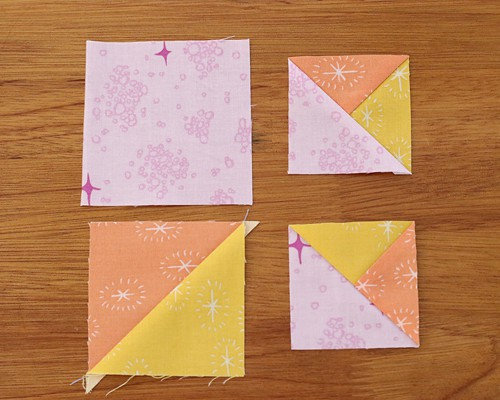 Split Quarter Square triangle blocks
