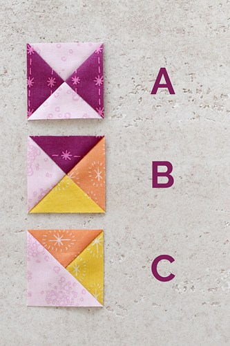 Quarter Square Triangle, Hourglass and Split Quarter Square Triangle quilt blocks