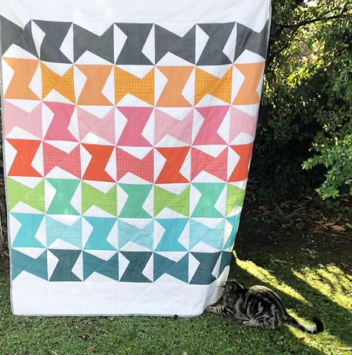 Tara's version of the Zed Quilt by Bonjour Quilts (with cat)