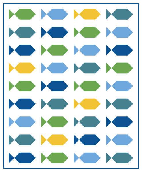 Sew a scrap quilt from these fun fish quilt blocks at Bonjour Quilts