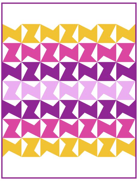 Purple version of the Zed Quilt pattern by Bonjour Quilts