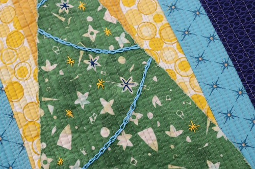 Embroidery decoration ideas for a Christmas mini quilt by Bonjour Quilts