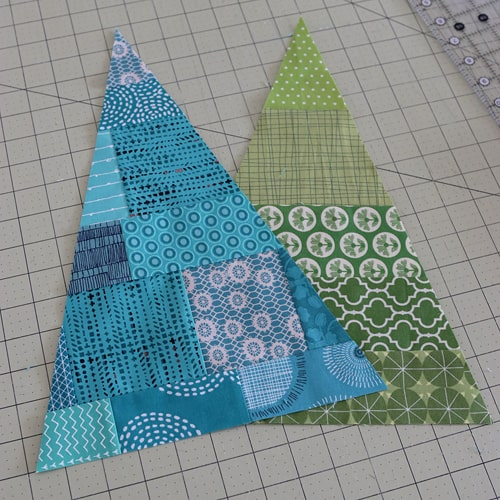 Patchwork Christmas Tree for a Candy Christmas mini quilt by Bonjour Quilts