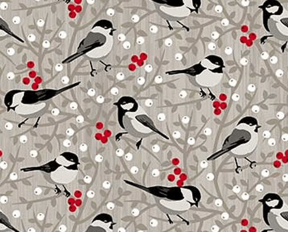 Sweet finch fabric that would work well in the Candy Christmas mini quilt