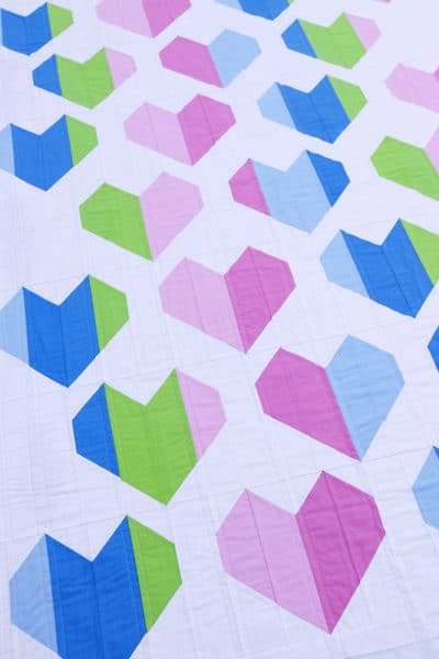 Heartfelt quilt pattern by Bonjour Quilts. The perfect quilt for baby, or a wedding quilt.