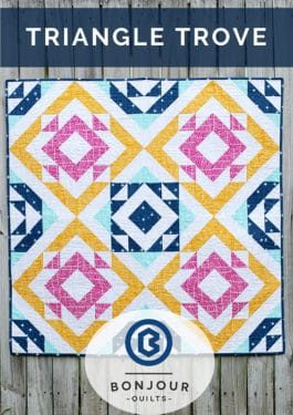 Triangle Trove quilt pattern, uses the 8 at a time method to create a HST quilt pattern