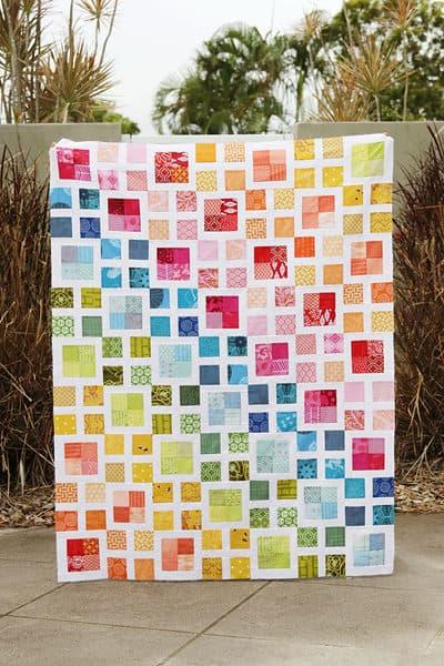 Rainbow Scrappy Lattice Quilt pattern