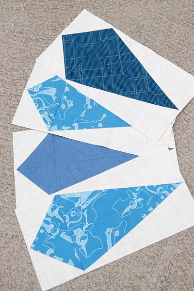 Gemology quilt pattern - kites in navy and blue