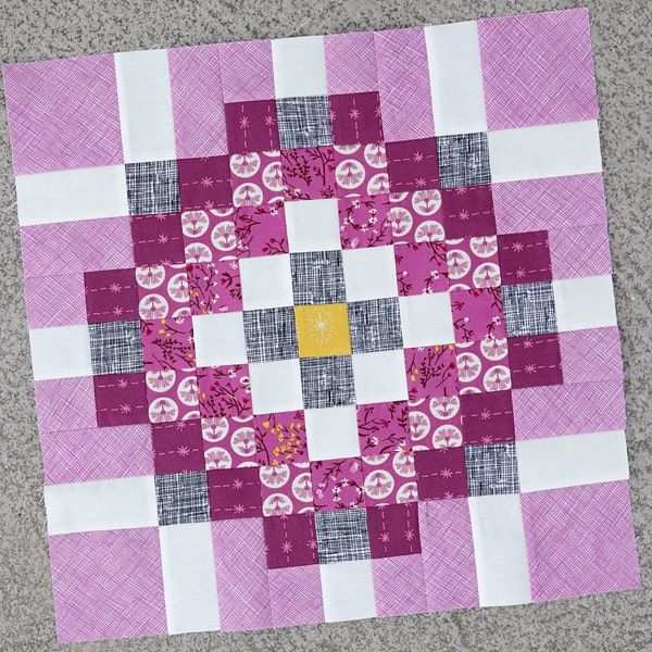 A Scrap Magnet quilt pattern block, ready to be turned into a cushion.