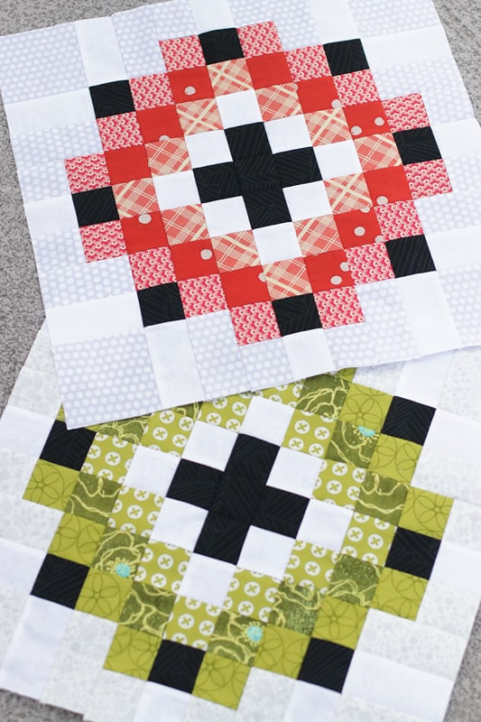 Red and green scrappy Christmas pillows made from the single block instructions in the Scrap Magnet quilt pattern by Bonjour Quilts.