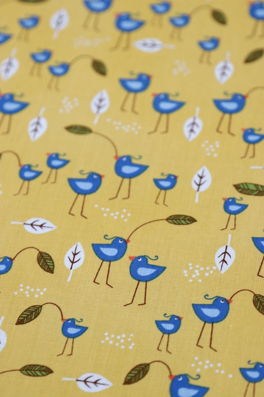 Bird fabric used to line a zipper pouch