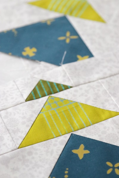 Flying geese quilt blocks in Alison Glass fabrics