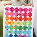 snowball quilt pattern in rainbow fabrics