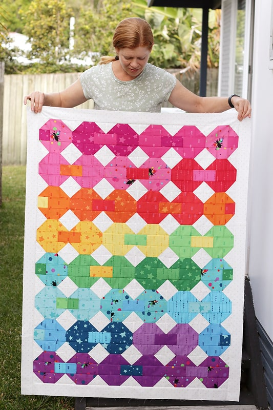 snowball quilt pattern in rainbow fabrics
