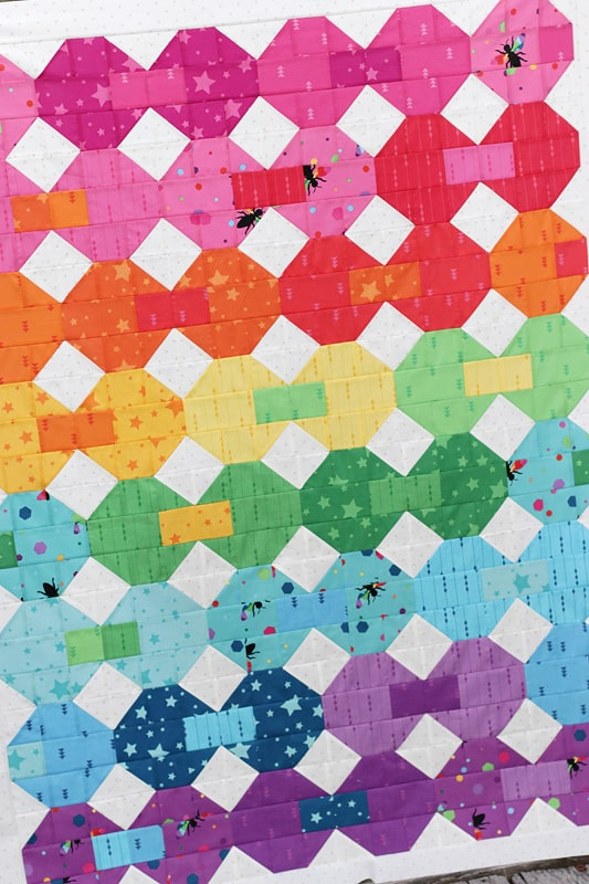 rainbow Snowball Party quilt
